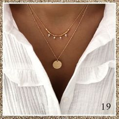 Terreau Kathy - Alloy Disc Faux Pearl Layered Necklace