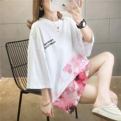 Jewie - Elbow-Sleeve Floral Print Tunic T-Shirt