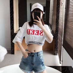 Septemptress - Lettering Elbow-Sleeve Cropped T-Shirt