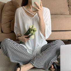 Bloombloom - Elbow-Sleeve Oversized T-Shirt / Striped Wide-Leg Pants