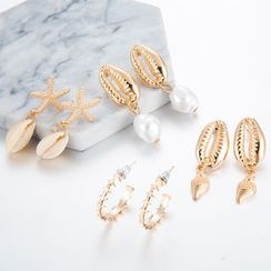 Yongge - 4-pair Set: Alloy Shell Earring (assorted designs)