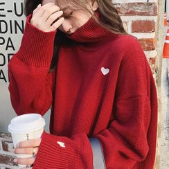 Puntino - Heart Embroidered Turtleneck Sweater
