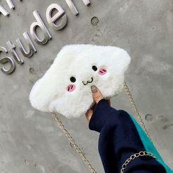 Polnocna - Embroidered Furry Crossbody Bag