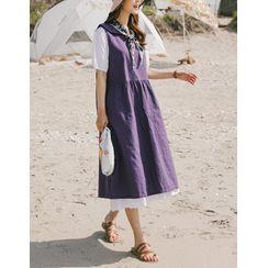 GOROKE - Sailor-Collar Sleeveless Dress