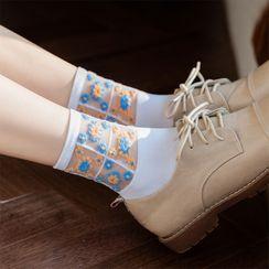 Rivara - Set Of 3 Pairs: Floral Mesh Socks