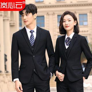 Skyheart - Couple Matching Button-Up Vest / Button-Up Blazer / Dress Pants / Skirt / Set