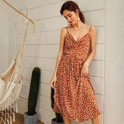 Forest White - Spaghetti Strap Leopard Print Beach Dress