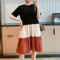 Hearty Bliss - Maternity Elbow-Sleeve Color Block Midi A-Line Dress