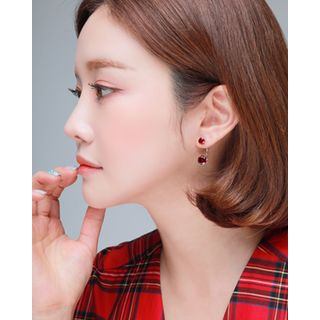 Miss21 Korea - Double-Rhinestone Round / Teardrop Earrings