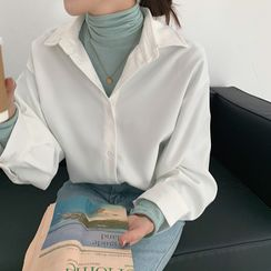 Shopherd - Oversized Long-Sleeve Plain Shirt