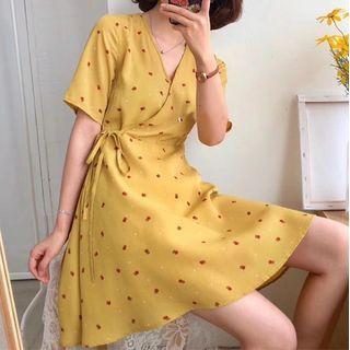 AURAPUNA - Floral Print Elbow-Sleeve Mini A-Line Dress