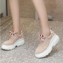 Freesia(フリージア) - Faux Suede Platform Chunky Sneakers