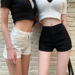 Flowerisque - High Waist Denim Shorts
