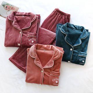 Dogini - 情侣款家居服套装: 法兰绒衬衫 + 家居裤