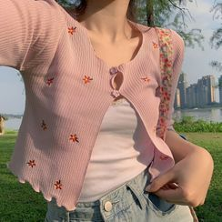 ROSEMARY - Flower Embroidered 3/4-Sleeve Cropped Cardigan