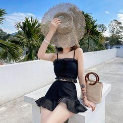 Anuket - Set: Leaf Print Tankini Top + Swim Dress