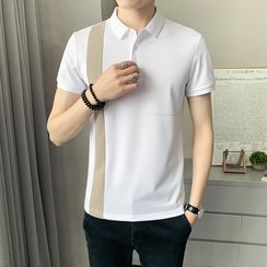 Andrei(アンドレイ) - Short-Sleeve Two Tone Polo Shirt