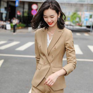Princess Min - Double-Breasted Blazer / Drawstring Blouse / Pencil Skirt / Straight Leg Pants