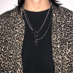Porstina - Cross Pendant Layered Chain Necklace