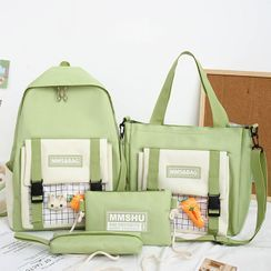 EAVALURE(イーヴァルア) - Set: Two-Tone Backpack + Tote Bag + Crossbody Bag + Pencil Case