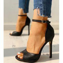 MANMANNI - Pointy-Toe Snake Skin Print High-Heel Pumps