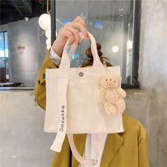 Ms Bean - Letter Embroidered Canvas Shoulder  Bag