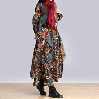 chic n' fab - 假两件图案麻混纺连衣裙