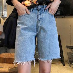 Altosa - Fray-Hem Straight-Cut Denim Shorts