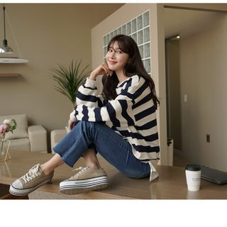 CLICK - Layered-Hem Stripe Sweatshirt