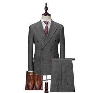 Deepwood - Set: Plaid Double-Breasted Blazer + Vest + Dress Pants