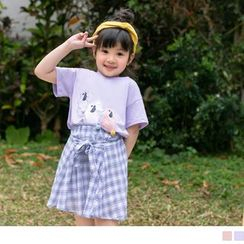 OrangeBear - Kids Rabbit Applique Pompom-Accent Short-Sleeve T-Shirt