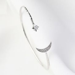 Blinglitz - 925 Sterling Silver Rhinestone Moon & Star Open Bangle