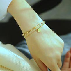 Tenri(テンリ) - Smiley Stainless Steel Layered Bracelet