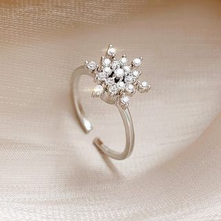 True Glam - Rhinestone  Open Ring