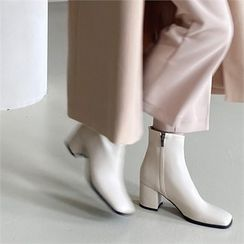 MONOBARBI(モノバービ) - Square-Toe Block-Heel Ankle Boots