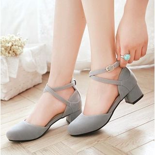 Freesia - Low-Heel Ankle Strap Sandals