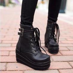 锦洋鞋业 - 绑带厚底短靴