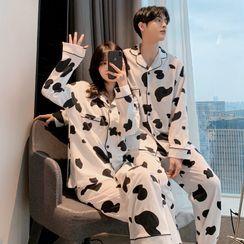 Endormi - Couple Matching Pajama Set: Cow Print Shirt + Pants