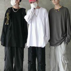 LINSI - 纯色长袖T裇