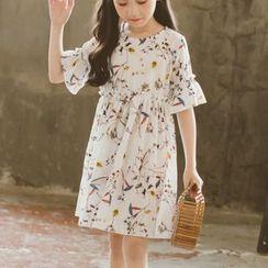 Hobab - 童裝花朵印花中袖A字連衣裙