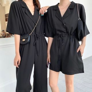 Ashlee - Plain Short-Sleeve Playsuit / Jumpsuit
