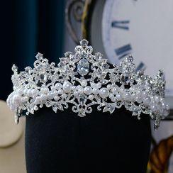 Ashmi - Rhinestone Faux Pearl Headpiece