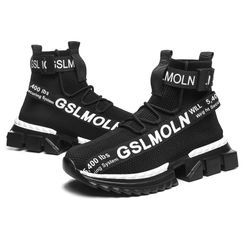 Auxen - High-Top Lettering Platform Sneakers