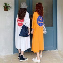 Ketaph - 3/4-Sleeve Midi T-Shirt Dress