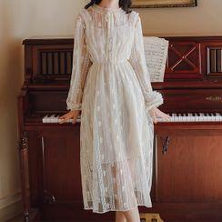 Ninda - Long-Sleeve Midi A-Line Lace Dress