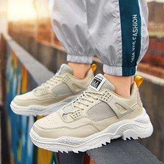 Auxen - Platform Lace Up Mesh Sneakers