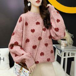 Haystar - Heart Print Crew-Neck Sweater