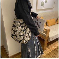 TangTangBags - Rose Print Fabric Crossbody Bag / Shoulder Bag / Drawstring Pouch