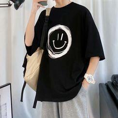 Acrius(アクリウス) - Elbow-Sleeve Printed T-Shirt