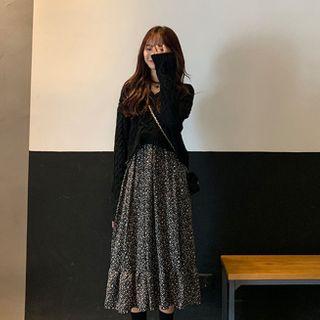 Apotheosis - 套裝: 短款麻花針織毛衣 + 碎花長袖A字連衣中裙
